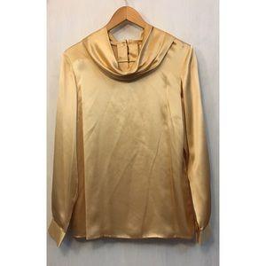 Neiman Marcus gold silk cowl neck blouse
